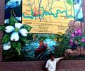 """""""The Trail Town"""" Elkin mural with mural artist Michael Brown"""