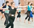Anabella Lenzu and students at a dance class.