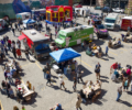An aerial view of the Asheville Food Truck Showdown competition.