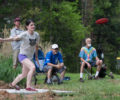 Local disc golfers practicing their throws.