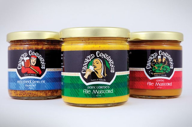 A trio of Crooked Condiments products.