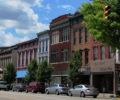 A row of buildings along a city's Main Street.