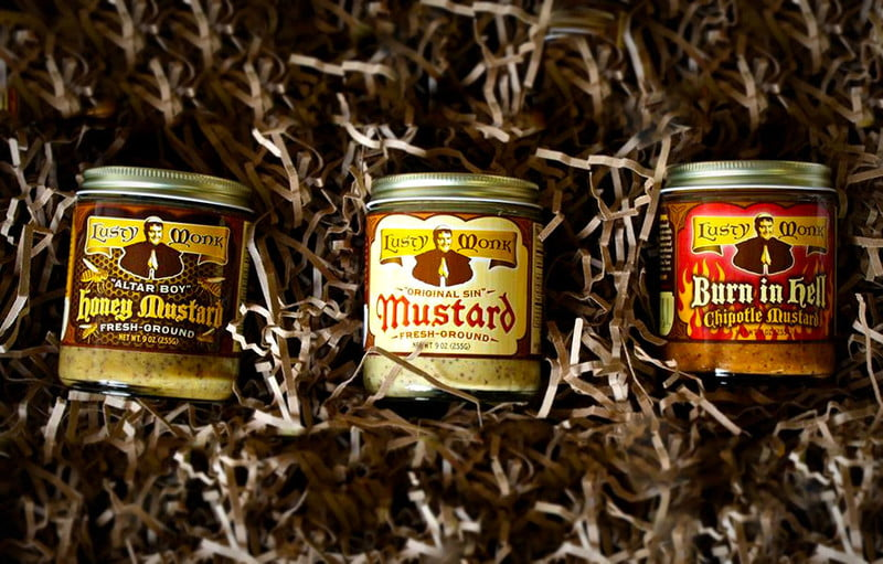 All three Musty Monk mustards on display.